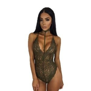 Other - Sheer Green Lace Stretchy Harness Bodysuit Romper!